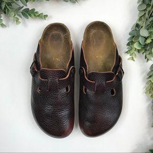 Birkenstock Boston Brown Leather Clogs Size 39
